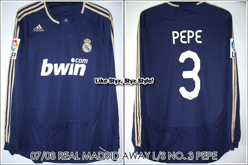"07/08 Real Madrid Away L/S No.3 ""Pepe"" Match Issued"