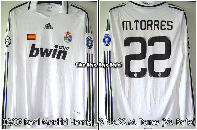 08/09 Real Madrid Home L/S No.22 M.Torres Match Worn (Vs. Bate 25 Nov 08)