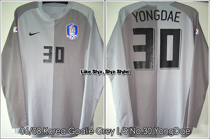 06/08 Korea Goalie Grey L/S No.30 Yong Dae Match Worn (On the Training)