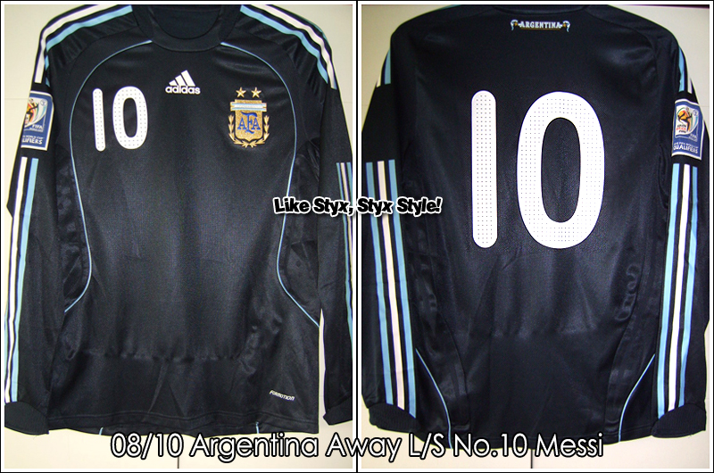 "08/10 Argentina Away L/S No.10 ""Messi"" Match Issued (Vs. Uruguay 14 Oct 2009)"