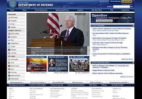 다양한 소셜 미디어와 연동한 미국 국방부 공식 사이트
